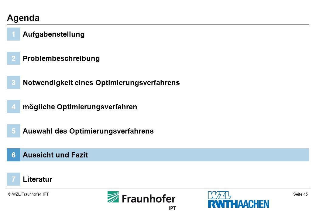 Seite 45© WZL/Fraunhofer IPT Literatur7 Aussicht und Fazit6 Auswahl des Optimierungsverfahrens5 mögliche Optimierungsverfahren4 Notwendigkeit eines Optimierungsverfahrens3 Problembeschreibung2 Aufgabenstellung1 Agenda