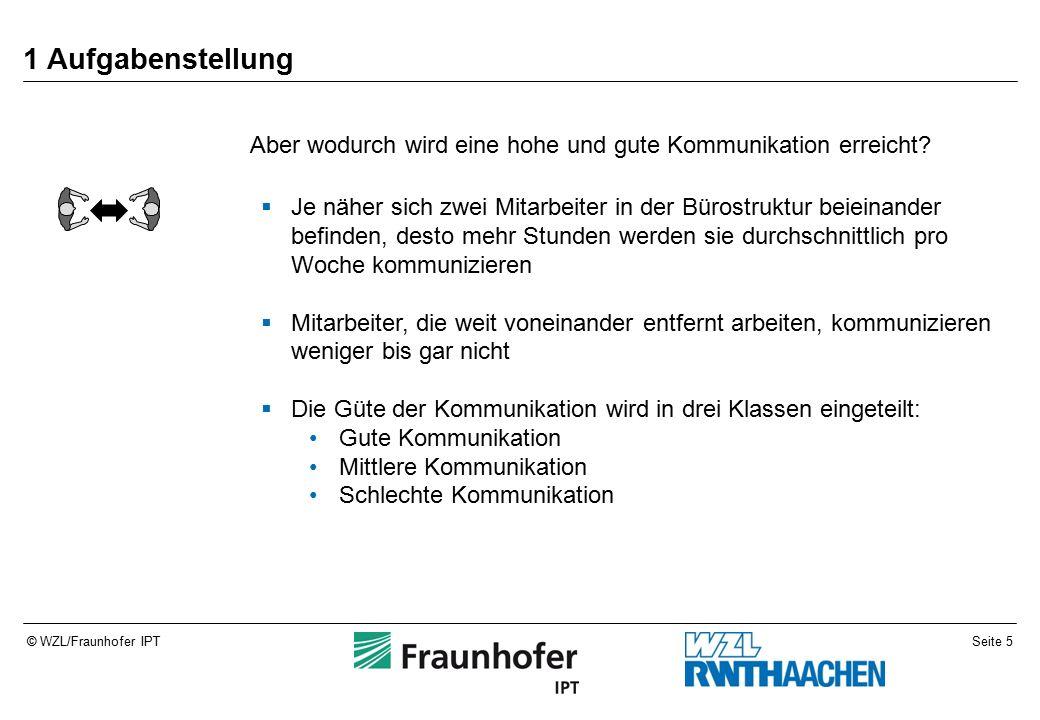 Seite 5© WZL/Fraunhofer IPT 1 Aufgabenstellung Aber wodurch wird eine hohe und gute Kommunikation erreicht.