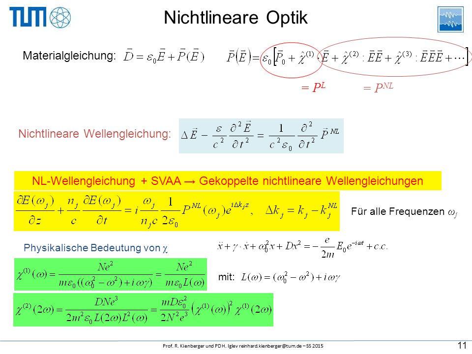 Nichtlineare Optik Nichtlineare Wellengleichung: NL-Wellengleichung + SVAA → Gekoppelte nichtlineare Wellengleichungen Für alle Frequenzen ω j Materialgleichung: = P L = P NL mit: Physikalische Bedeutung von χ 11
