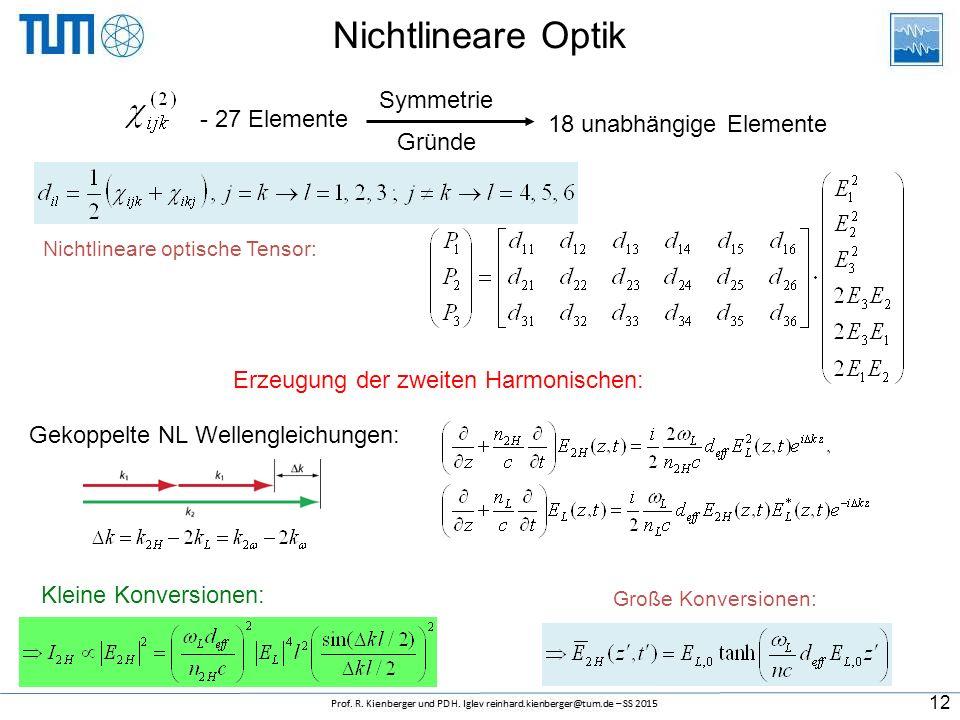 Nichtlineare Optik Nichtlineare optische Tensor: 18 unabhängige Elemente - 27 Elemente Symmetrie Gründe Erzeugung der zweiten Harmonischen: Gekoppelte NL Wellengleichungen: Kleine Konversionen: Große Konversionen: 12