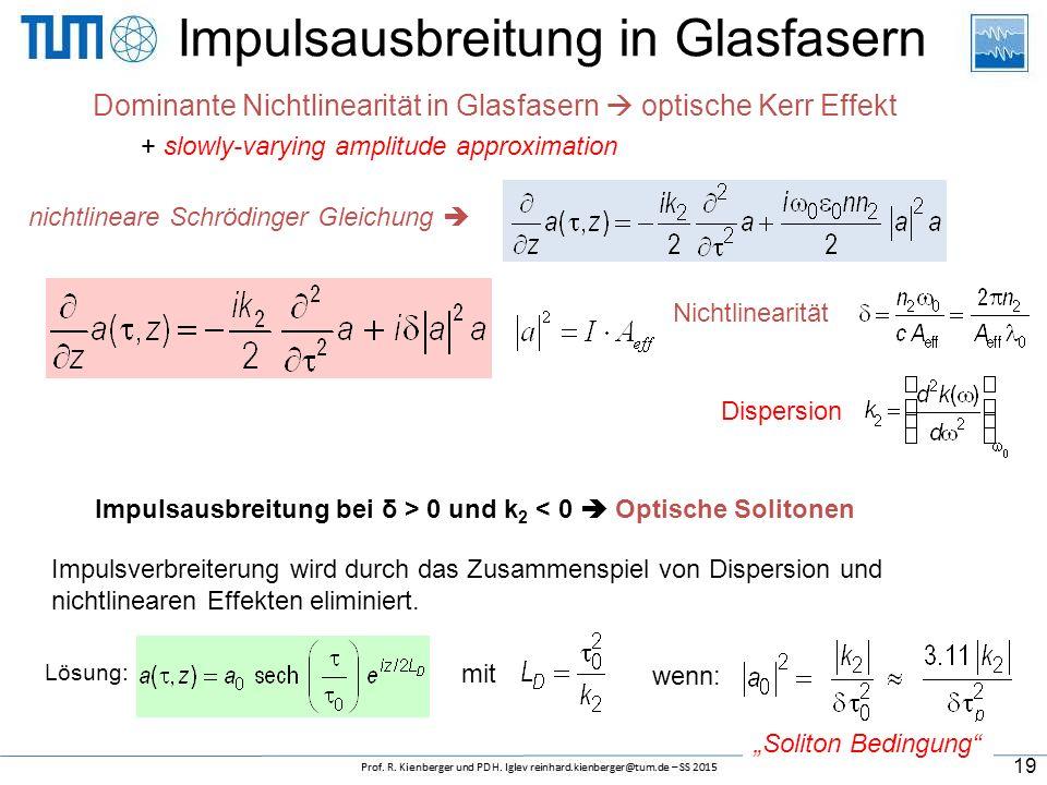 Impulsausbreitung in Glasfasern Dominante Nichtlinearität in Glasfasern  optische Kerr Effekt nichtlineare Schrödinger Gleichung  + slowly-varying a