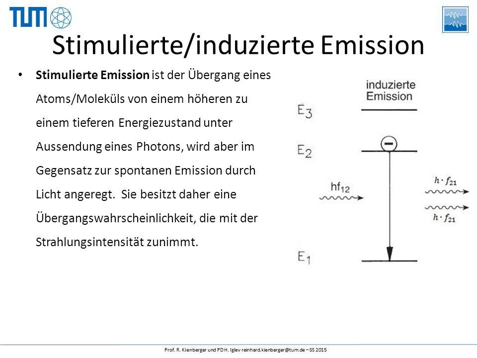 Stimulierte/induzierte Emission Stimulierte Emission ist der Übergang eines Atoms/Moleküls von einem höheren zu einem tieferen Energiezustand unter Aussendung eines Photons, wird aber im Gegensatz zur spontanen Emission durch Licht angeregt.