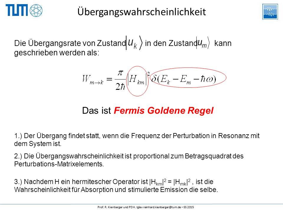 Übergangswahrscheinlichkeit Die Übergangsrate von Zustand in den Zustand kann geschrieben werden als: Das ist Fermis Goldene Regel 1.) Der Übergang fi