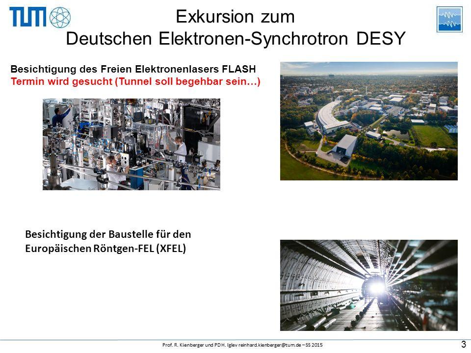 Exkursion zum Deutschen Elektronen-Synchrotron DESY 3 Besichtigung des Freien Elektronenlasers FLASH Termin wird gesucht (Tunnel soll begehbar sein…) Besichtigung der Baustelle für den Europäischen Röntgen-FEL (XFEL)