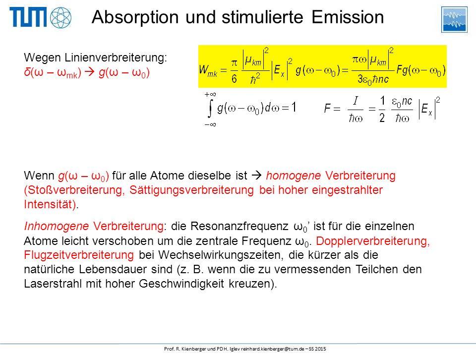 Absorption und stimulierte Emission Wegen Linienverbreiterung: δ(ω – ω mk )  g(ω – ω 0 ) Wenn g(ω – ω 0 ) für alle Atome dieselbe ist  homogene Verbreiterung (Stoßverbreiterung, Sättigungsverbreiterung bei hoher eingestrahlter Intensität).