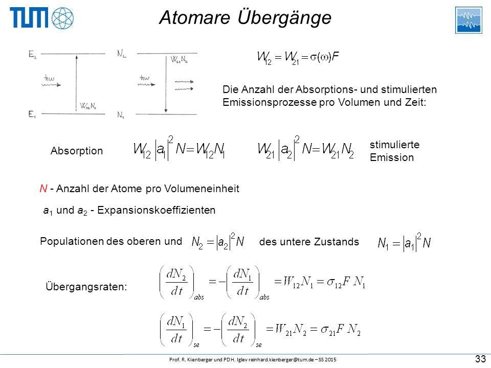 Atomare Übergänge Die Anzahl der Absorptions- und stimulierten Emissionsprozesse pro Volumen und Zeit: Absorption stimulierte Emission a 1 und a 2 - Expansionskoeffizienten Übergangsraten: N - Anzahl der Atome pro Volumeneinheit des untere Zustands Populationen des oberen und 33
