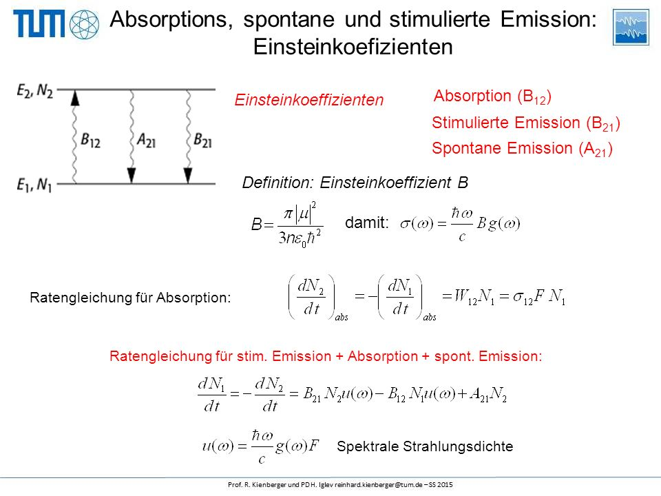 Absorptions, spontane und stimulierte Emission: Einsteinkoefizienten Absorption (B 12 ) damit: Definition: Einsteinkoeffizient B Spontane Emission (A