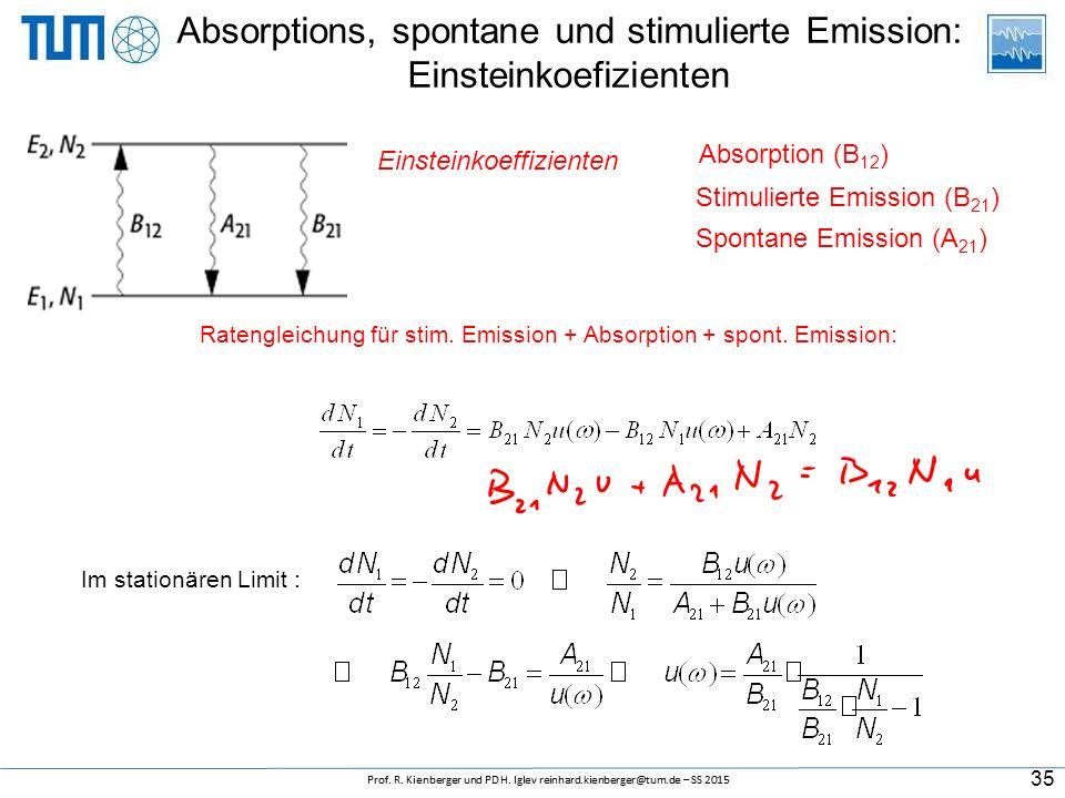 Absorptions, spontane und stimulierte Emission: Einsteinkoefizienten Absorption (B 12 ) 35 Spontane Emission (A 21 ) Stimulierte Emission (B 21 ) Eins