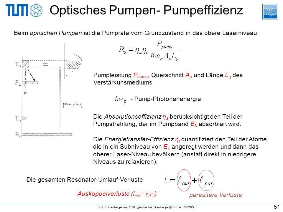 Beim optischen Pumpen ist die Pumprate vom Grundzustand in das obere Laserniveau: Pumpleistung P pump, Querschnitt A p und Länge L g des Verstärkunsmediums Die Absorptionseffizienz η a berücksichtigt den Teil der Pumpstrahlung, der im Pumpband E 3 absorbiert wird.