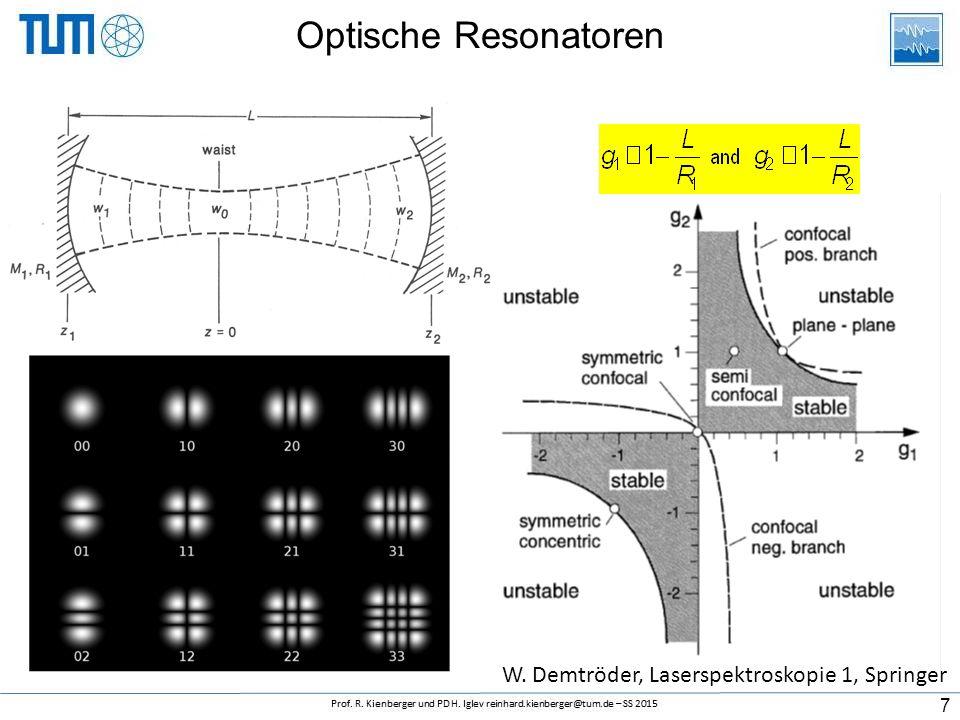 Optische Resonatoren 7 W. Demtröder, Laserspektroskopie 1, Springer