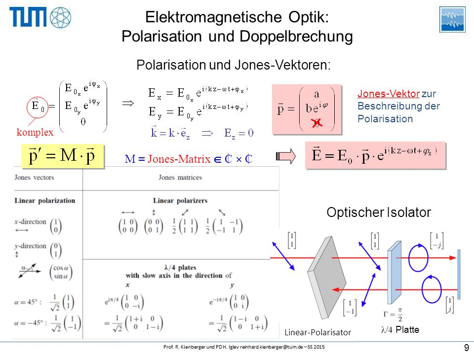 Elektromagnetische Optik: Polarisation und Doppelbrechung komplex Jones-Vektor zur Beschreibung der Polarisation Polarisation und Jones-Vektoren: M  Jones-Matrix  C  C | | 9 λ/4 Platte Linear-Polarisator Optischer Isolator