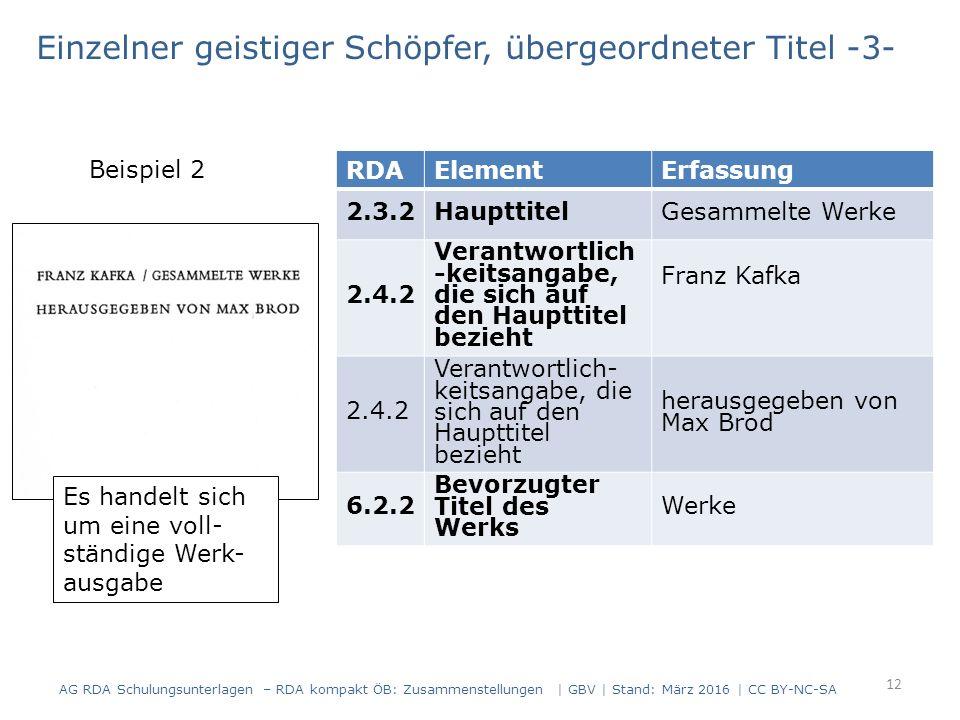 12 RDAElementErfassung 2.3.2HaupttitelGesammelte Werke 2.4.2 Verantwortlich -keitsangabe, die sich auf den Haupttitel bezieht Franz Kafka 2.4.2 Verantwortlich- keitsangabe, die sich auf den Haupttitel bezieht herausgegeben von Max Brod 6.2.2 Bevorzugter Titel des Werks Werke Es handelt sich um eine voll- ständige Werk- ausgabe Einzelner geistiger Schöpfer, übergeordneter Titel -3- Beispiel 2 AG RDA Schulungsunterlagen – RDA kompakt ÖB: Zusammenstellungen | GBV | Stand: März 2016 | CC BY-NC-SA