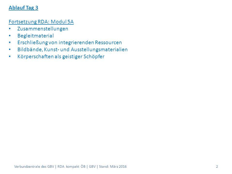 Ablauf Tag 3 Fortsetzung RDA: Modul 5A Zusammenstellungen Begleitmaterial Erschließung von integrierenden Ressourcen Bildbände, Kunst- und Ausstellungsmaterialien Körperschaften als geistiger Schöpfer Verbundzentrale des GBV | RDA kompakt ÖB | GBV | Stand: März 20162