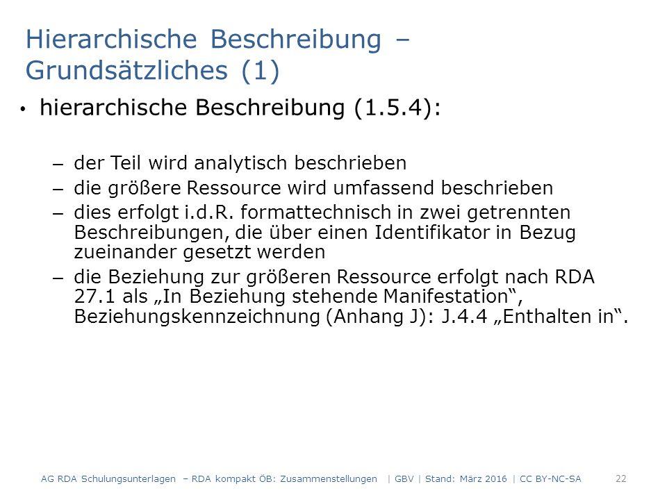 Hierarchische Beschreibung – Grundsätzliches (1) hierarchische Beschreibung (1.5.4): – der Teil wird analytisch beschrieben – die größere Ressource wird umfassend beschrieben – dies erfolgt i.d.R.