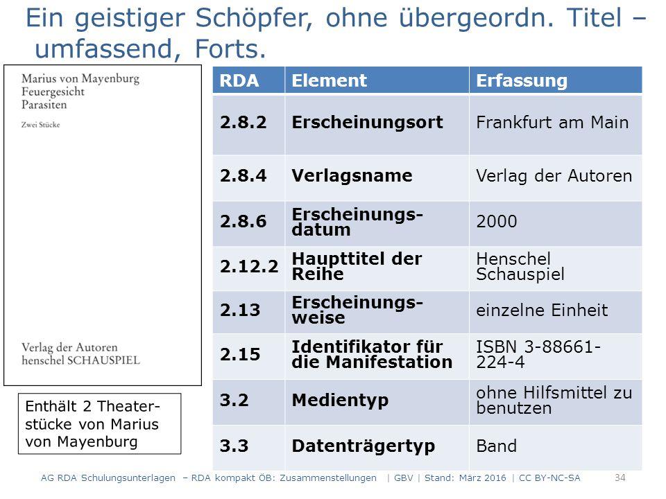 34 RDAElementErfassung 2.8.2ErscheinungsortFrankfurt am Main 2.8.4 VerlagsnameVerlag der Autoren 2.8.6 Erscheinungs- datum 2000 2.12.2 Haupttitel der Reihe Henschel Schauspiel 2.13 Erscheinungs- weise einzelne Einheit 2.15 Identifikator für die Manifestation ISBN 3-88661- 224-4 3.2Medientyp ohne Hilfsmittel zu benutzen 3.3DatenträgertypBand Ein geistiger Schöpfer, ohne übergeordn.