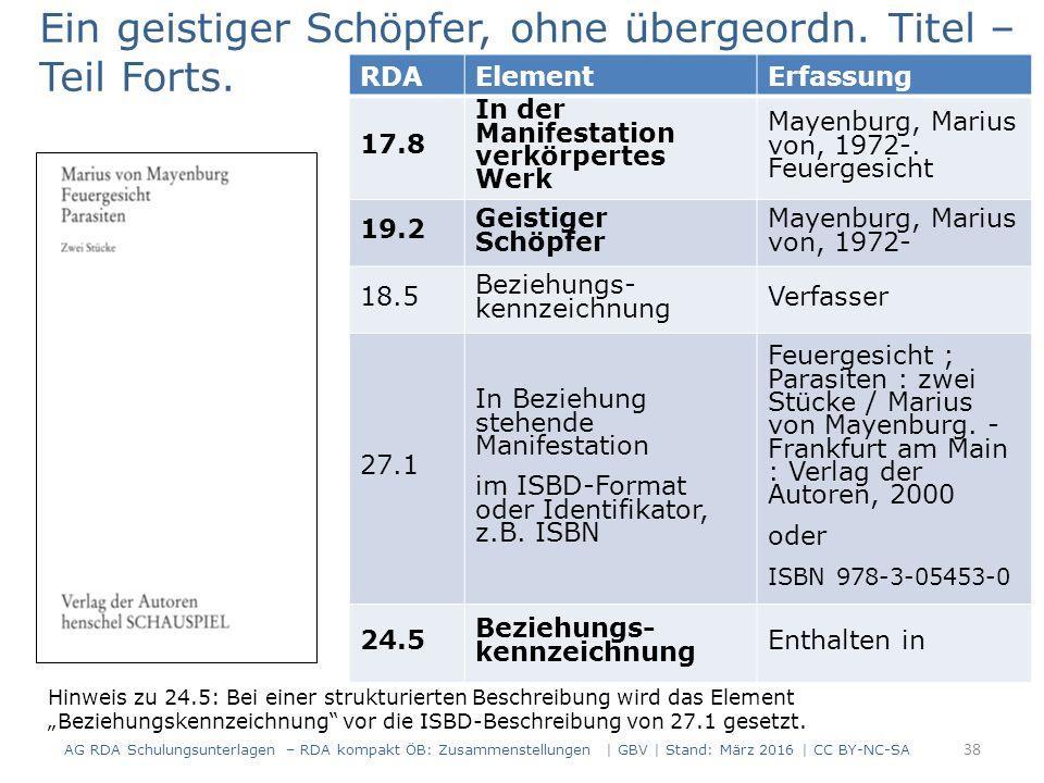 RDAElementErfassung 17.8 In der Manifestation verkörpertes Werk Mayenburg, Marius von, 1972-.