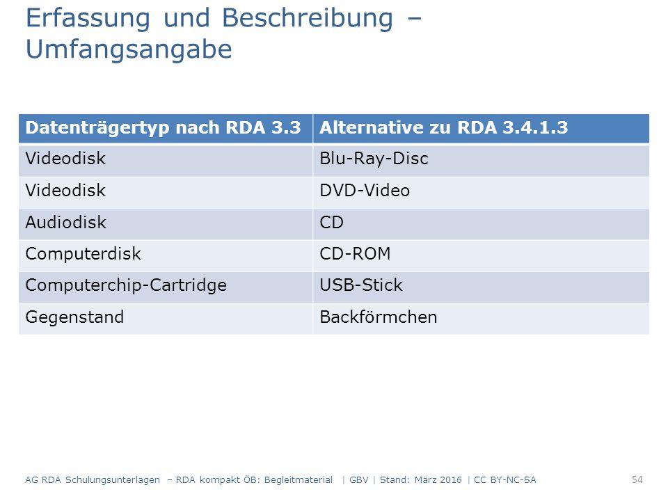 Datenträgertyp nach RDA 3.3Alternative zu RDA 3.4.1.3 VideodiskBlu-Ray-Disc VideodiskDVD-Video AudiodiskCD ComputerdiskCD-ROM Computerchip-CartridgeUSB-Stick GegenstandBackförmchen Erfassung und Beschreibung – Umfangsangabe 54 AG RDA Schulungsunterlagen – RDA kompakt ÖB: Begleitmaterial | GBV | Stand: März 2016 | CC BY-NC-SA