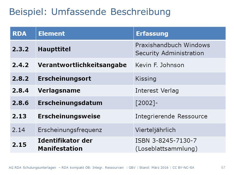 RDAElementErfassung 2.3.2Haupttitel Praxishandbuch Windows Security Administration 2.4.2VerantwortlichkeitsangabeKevin F.