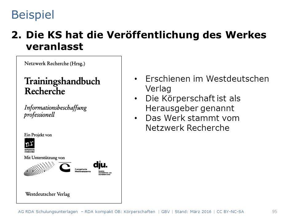 Beispiel 2.Die KS hat die Veröffentlichung des Werkes veranlasst 95 Erschienen im Westdeutschen Verlag Die Körperschaft ist als Herausgeber genannt Das Werk stammt vom Netzwerk Recherche AG RDA Schulungsunterlagen – RDA kompakt ÖB: Körperschaften | GBV | Stand: März 2016 | CC BY-NC-SA