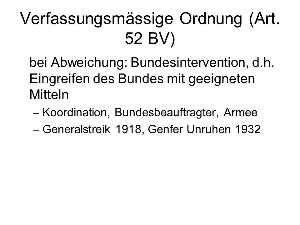 Verfassungsmässige Ordnung (Art. 52 BV) bei Abweichung: Bundesintervention, d.h.
