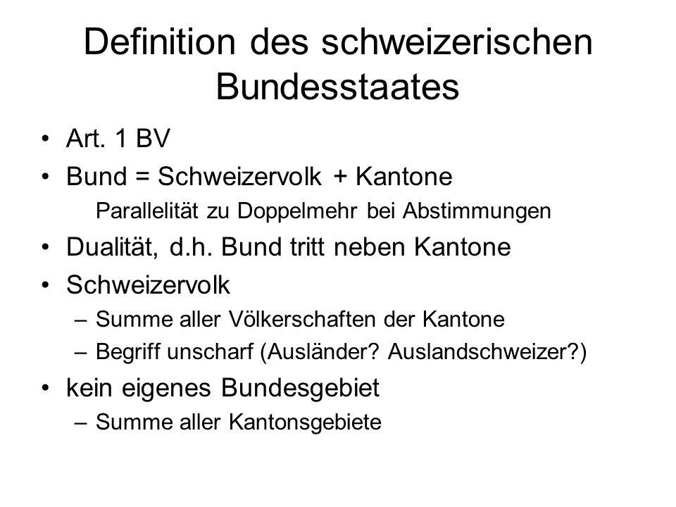 Gliedstaaten: Kantone 26 Kantone, wovon drei geteilte (6 « Halb- kantone ») Reihenfolge in Art.