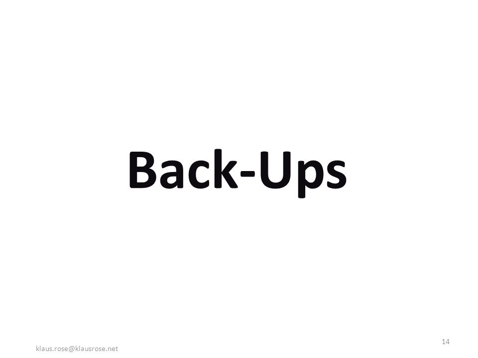 Back-Ups klaus.rose@klausrose.net 14
