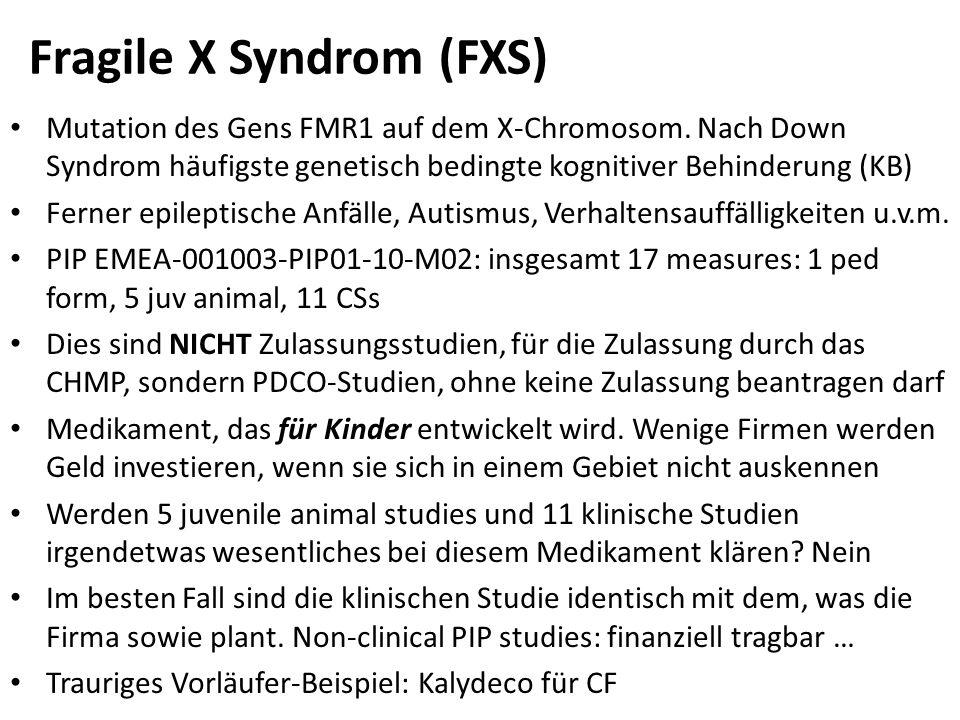 Fragile X Syndrom (FXS) Mutation des Gens FMR1 auf dem X-Chromosom. Nach Down Syndrom häufigste genetisch bedingte kognitiver Behinderung (KB) Ferner