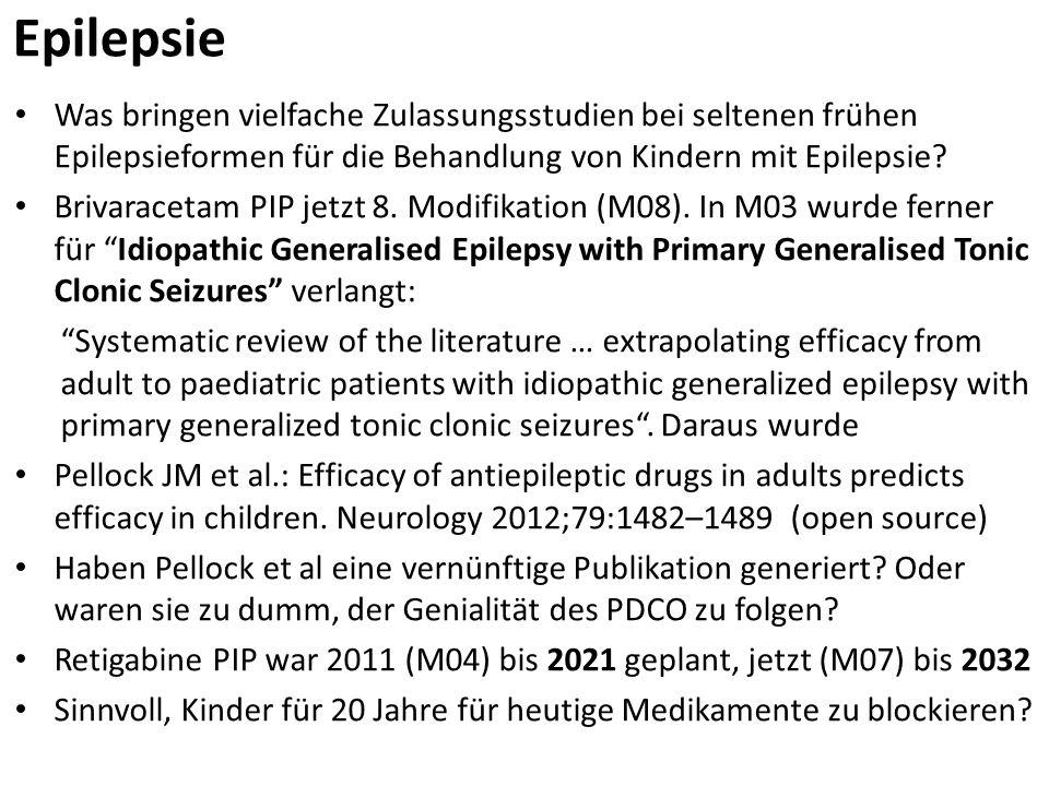 Epilepsie Was bringen vielfache Zulassungsstudien bei seltenen frühen Epilepsieformen für die Behandlung von Kindern mit Epilepsie? Brivaracetam PIP j