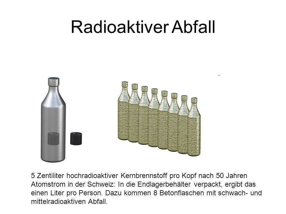 Radioaktiver Abfall 5 Zentiliter hochradioaktiver Kernbrennstoff pro Kopf nach 50 Jahren Atomstrom in der Schweiz: In die Endlagerbehälter verpackt, ergibt das einen Liter pro Person.