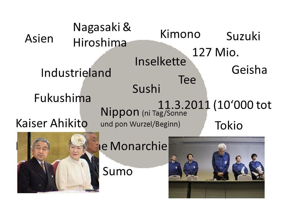 Fukushima Geisha Kimono Sushi Tokio Parlamentarische Monarchie Nippon (ni Tag/Sonne und pon Wurzel/Beginn) Anstand : Essen, schnäuzen etc.