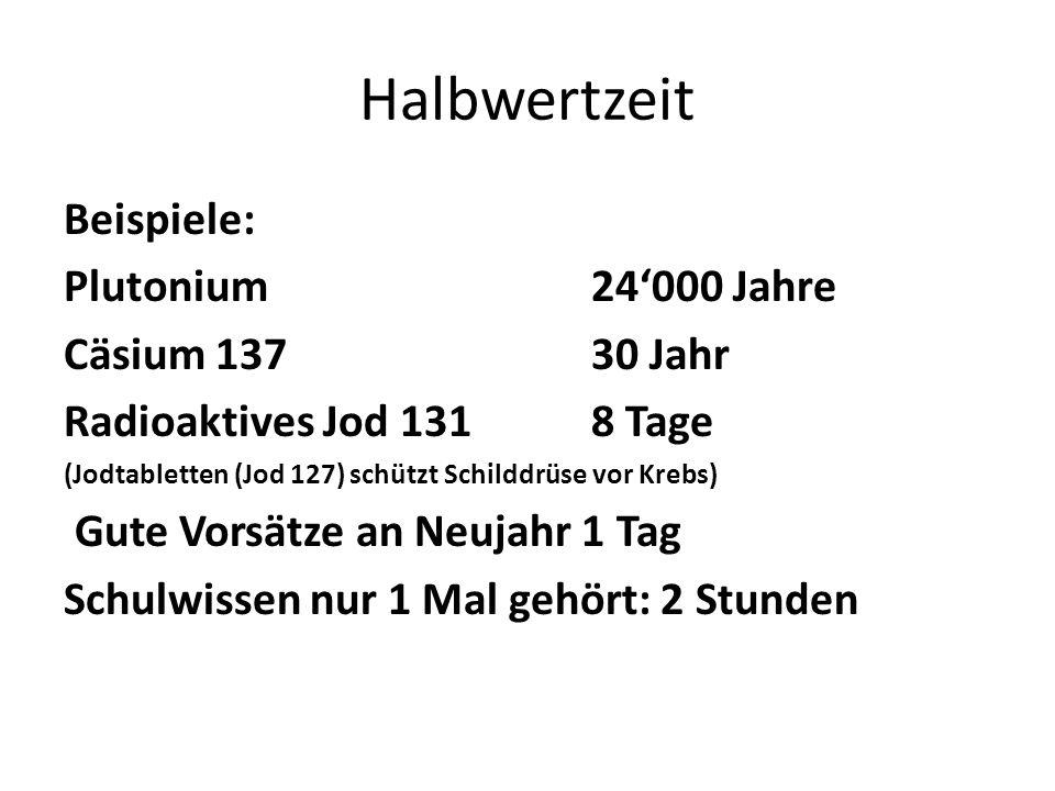 Halbwertzeit Beispiele: Plutonium 24'000 Jahre Cäsium 137 30 Jahr Radioaktives Jod 131 8 Tage (Jodtabletten (Jod 127) schützt Schilddrüse vor Krebs) Gute Vorsätze an Neujahr 1 Tag Schulwissen nur 1 Mal gehört: 2 Stunden