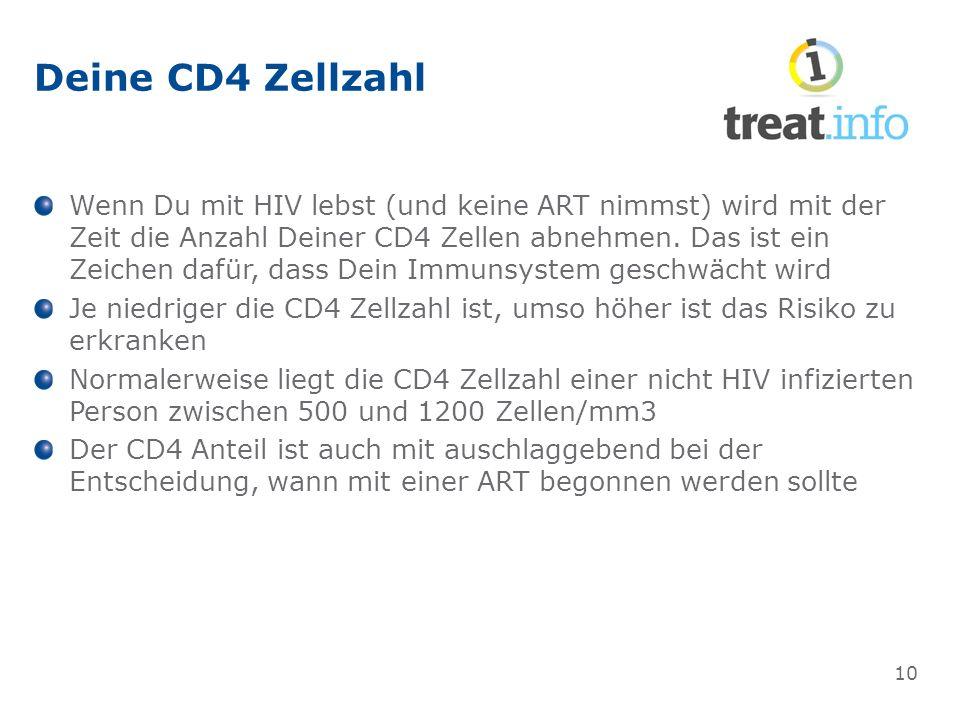 Deine CD4 Zellzahl Wenn Du mit HIV lebst (und keine ART nimmst) wird mit der Zeit die Anzahl Deiner CD4 Zellen abnehmen.