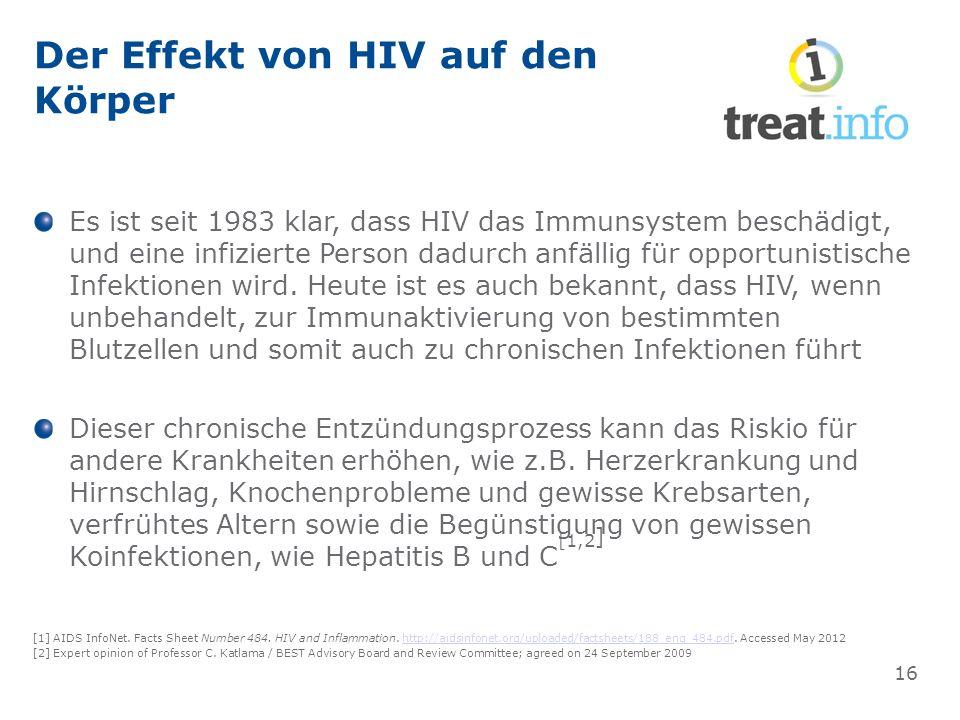 Der Effekt von HIV auf den Körper Es ist seit 1983 klar, dass HIV das Immunsystem beschädigt, und eine infizierte Person dadurch anfällig für opportunistische Infektionen wird.