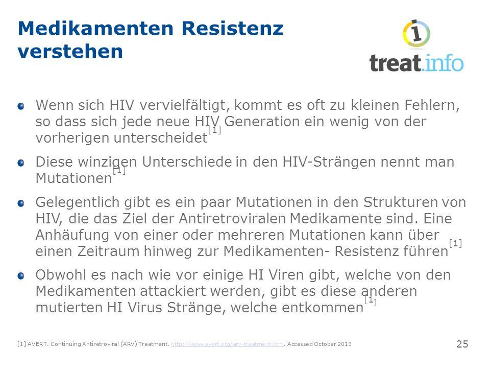 Medikamenten Resistenz verstehen Wenn sich HIV vervielfältigt, kommt es oft zu kleinen Fehlern, so dass sich jede neue HIV Generation ein wenig von der vorherigen unterscheidet [1] Diese winzigen Unterschiede in den HIV-Strängen nennt man Mutationen [1] Gelegentlich gibt es ein paar Mutationen in den Strukturen von HIV, die das Ziel der Antiretroviralen Medikamente sind.