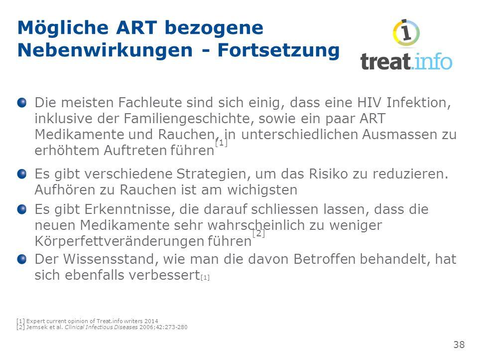 Mögliche ART bezogene Nebenwirkungen - Fortsetzung Die meisten Fachleute sind sich einig, dass eine HIV Infektion, inklusive der Familiengeschichte, sowie ein paar ART Medikamente und Rauchen, in unterschiedlichen Ausmassen zu erhöhtem Auftreten führen [1] Es gibt verschiedene Strategien, um das Risiko zu reduzieren.
