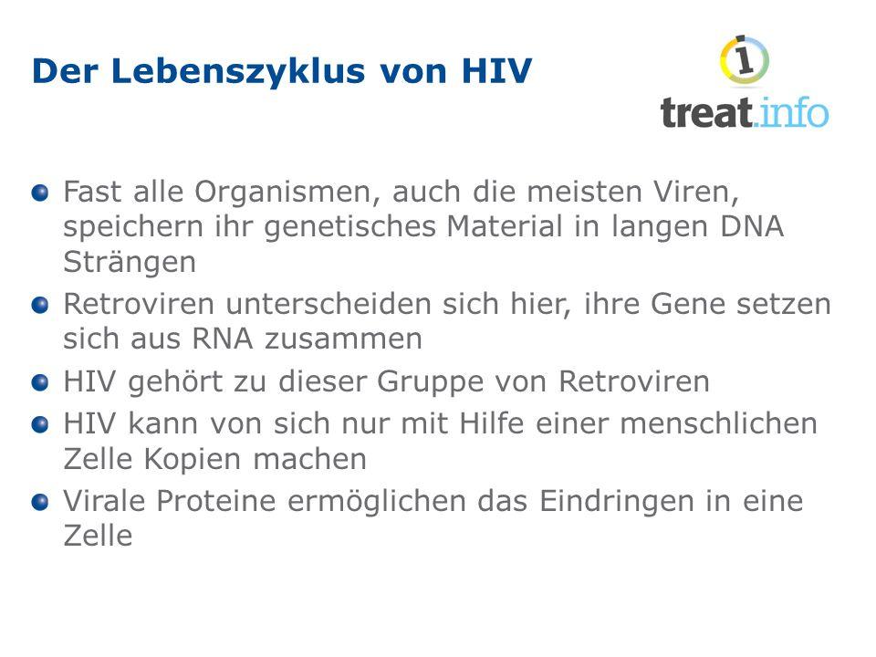 Der Lebenszyklus von HIV Fast alle Organismen, auch die meisten Viren, speichern ihr genetisches Material in langen DNA Strängen Retroviren unterscheiden sich hier, ihre Gene setzen sich aus RNA zusammen HIV gehört zu dieser Gruppe von Retroviren HIV kann von sich nur mit Hilfe einer menschlichen Zelle Kopien machen Virale Proteine ermöglichen das Eindringen in eine Zelle