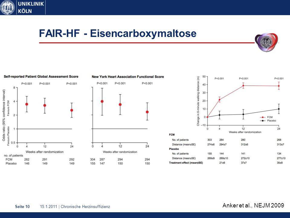 15.1.2011 | Chronische HerzinsuffizienzSeite 10 FAIR-HF - Eisencarboxymaltose Anker et al., NEJM 2009