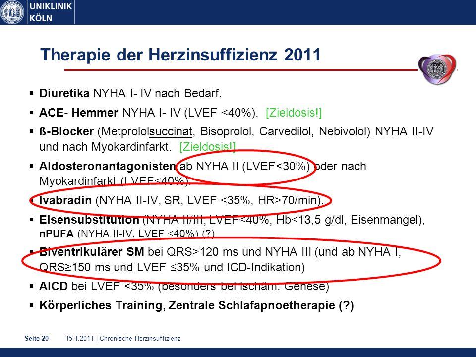 15.1.2011 | Chronische HerzinsuffizienzSeite 20 Therapie der Herzinsuffizienz 2011  Diuretika NYHA I- IV nach Bedarf.