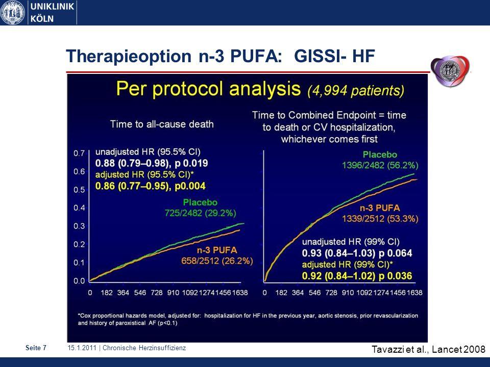 15.1.2011 | Chronische HerzinsuffizienzSeite 7 Therapieoption n-3 PUFA: GISSI- HF Tavazzi et al., Lancet 2008