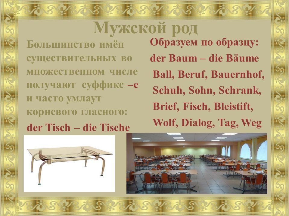 Мужской род Большинство имён существительных во множественном числе получают суффикс –е и часто умлаут корневого гласного: der Tisch – die Tische Образуем по образцу: der Baum – die Bäume Ball, Beruf, Bauernhof, Schuh, Sohn, Schrank, Brief, Fisch, Bleistift, Wolf, Dialog, Tag, Weg
