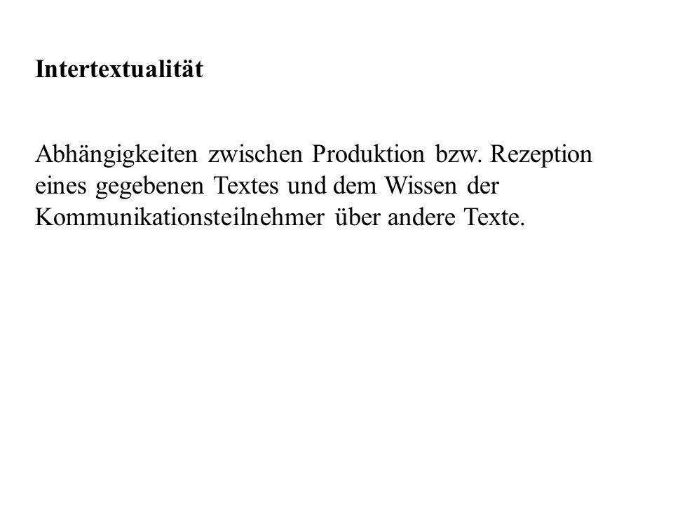 Intertextualität Abhängigkeiten zwischen Produktion bzw.