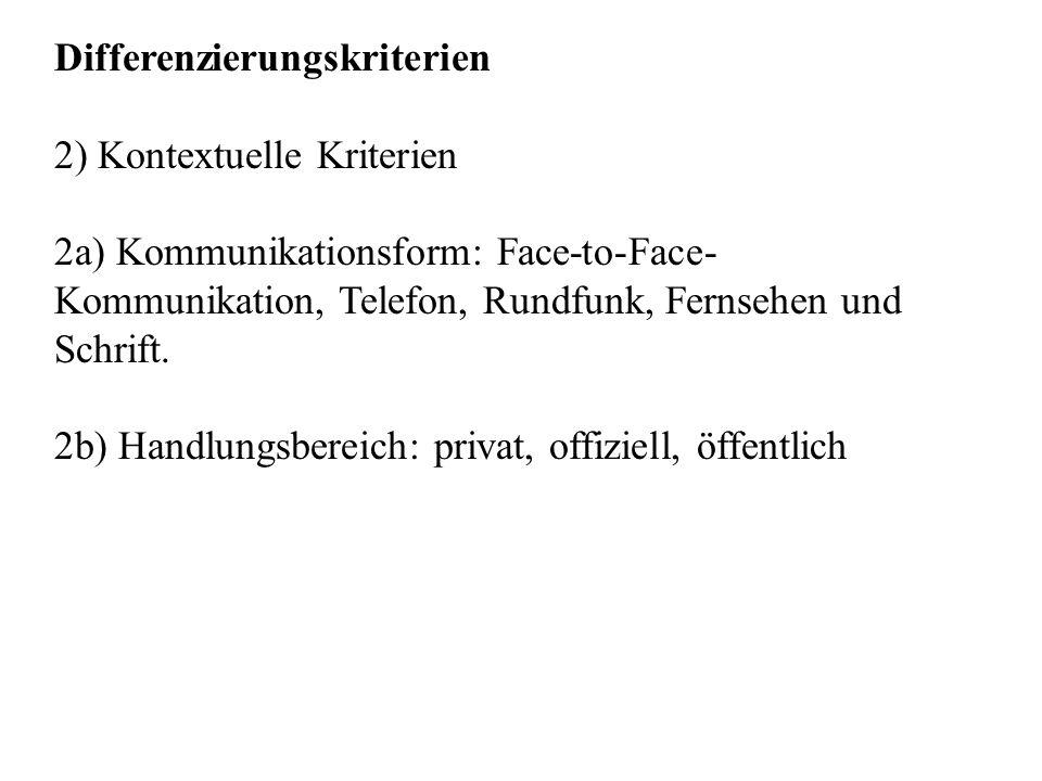 Differenzierungskriterien 2) Kontextuelle Kriterien 2a) Kommunikationsform: Face-to-Face- Kommunikation, Telefon, Rundfunk, Fernsehen und Schrift. 2b)