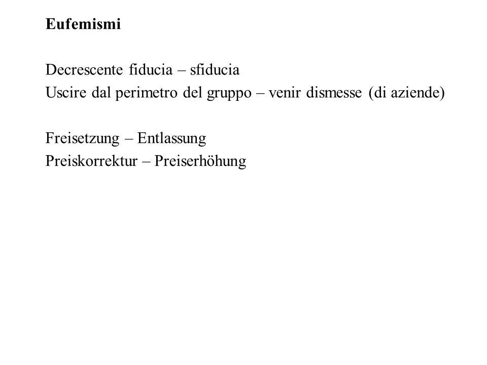 Eufemismi Decrescente fiducia – sfiducia Uscire dal perimetro del gruppo – venir dismesse (di aziende) Freisetzung – Entlassung Preiskorrektur – Preiserhöhung