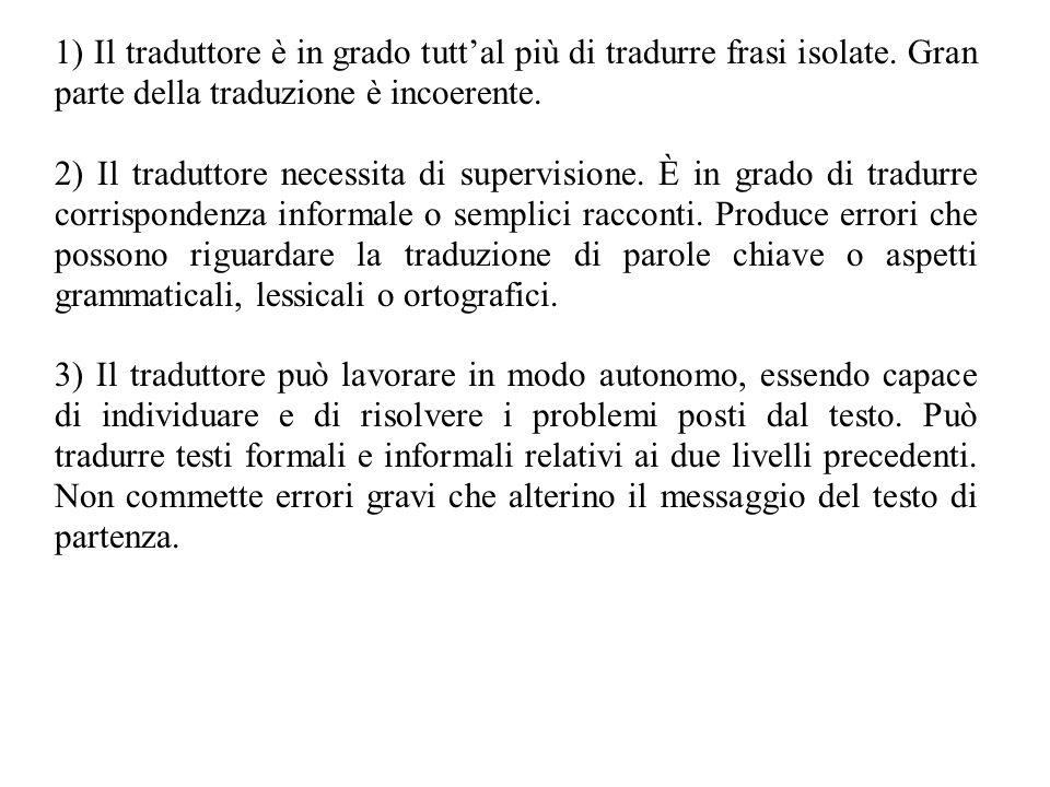 1) Il traduttore è in grado tutt'al più di tradurre frasi isolate. Gran parte della traduzione è incoerente. 2) Il traduttore necessita di supervision
