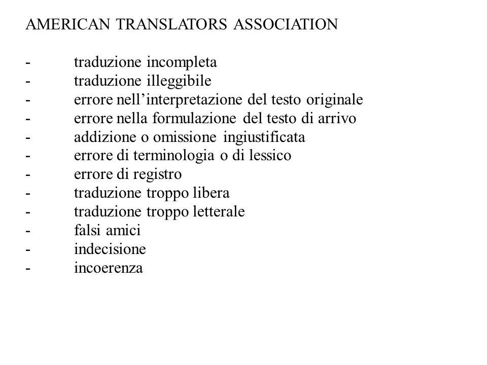 AMERICAN TRANSLATORS ASSOCIATION -traduzione incompleta -traduzione illeggibile -errore nell'interpretazione del testo originale -errore nella formula