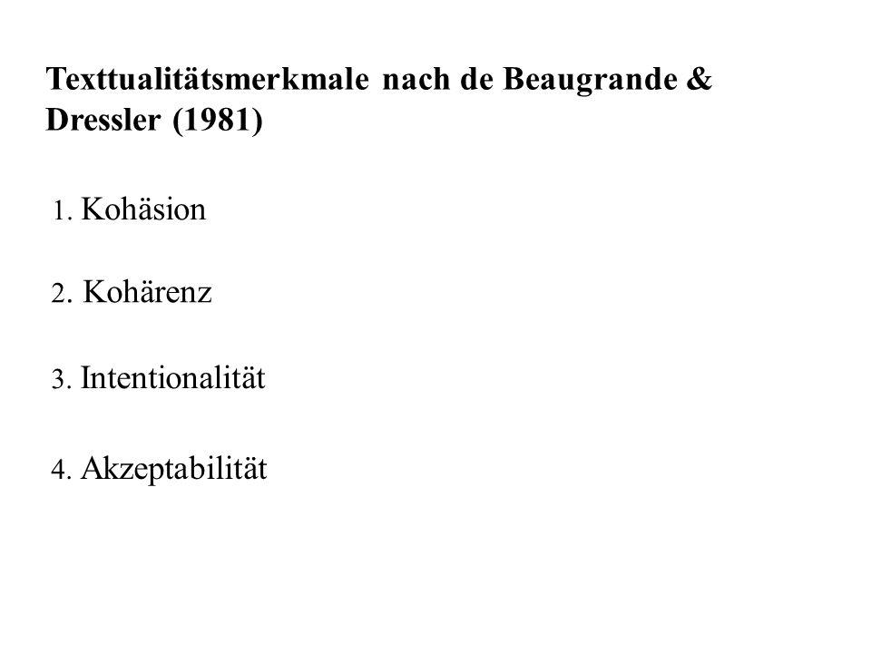 Texttualitätsmerkmale nach de Beaugrande & Dressler (1981) 1. Kohäsion 2. Kohärenz 3. Intentionalität 4. Akzeptabilität