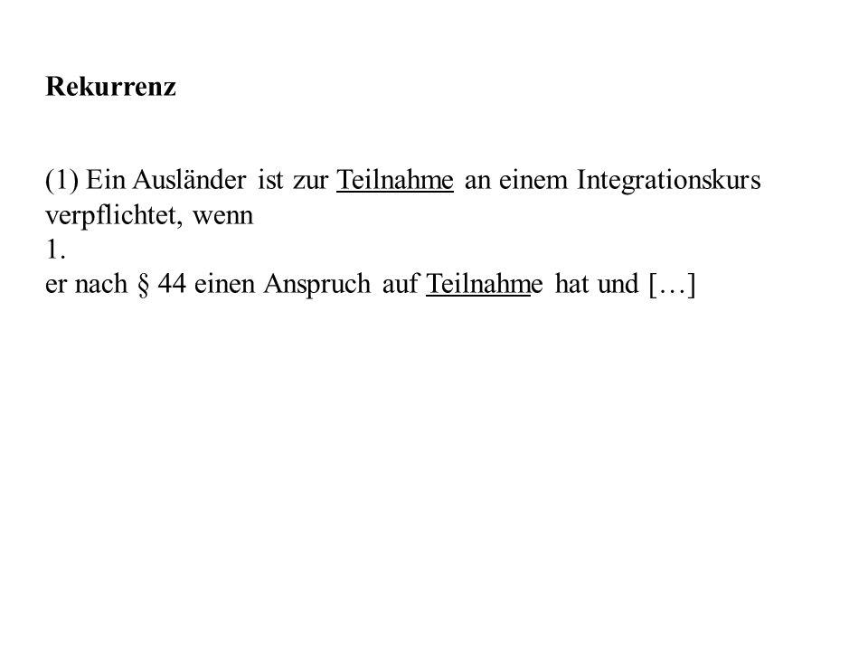 Rekurrenz (1) Ein Ausländer ist zur Teilnahme an einem Integrationskurs verpflichtet, wenn 1. er nach § 44 einen Anspruch auf Teilnahme hat und […]