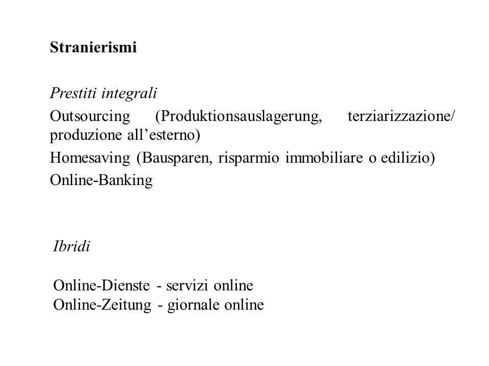 Stranierismi Prestiti integrali Outsourcing (Produktionsauslagerung, terziarizzazione/ produzione all'esterno) Homesaving (Bausparen, risparmio immobi