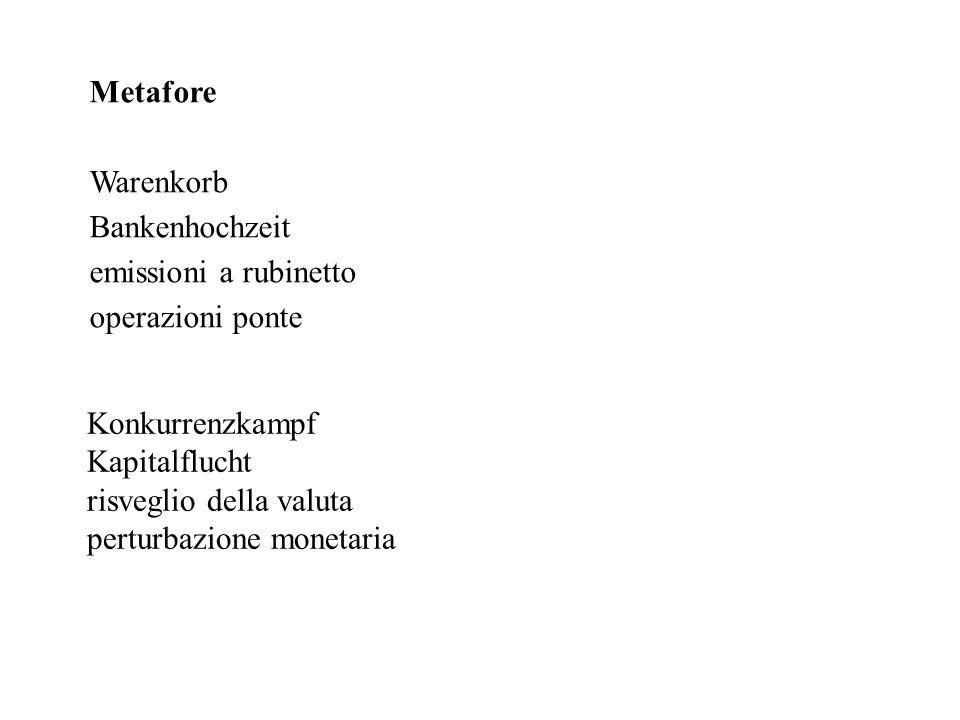 Metafore Warenkorb Bankenhochzeit emissioni a rubinetto operazioni ponte Konkurrenzkampf Kapitalflucht risveglio della valuta perturbazione monetaria