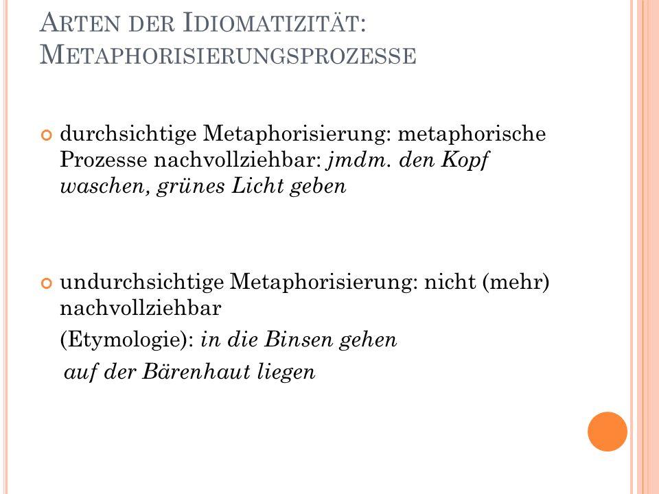 A RTEN DER I DIOMATIZITÄT : M ETAPHORISIERUNGSPROZESSE durchsichtige Metaphorisierung: metaphorische Prozesse nachvollziehbar: jmdm.